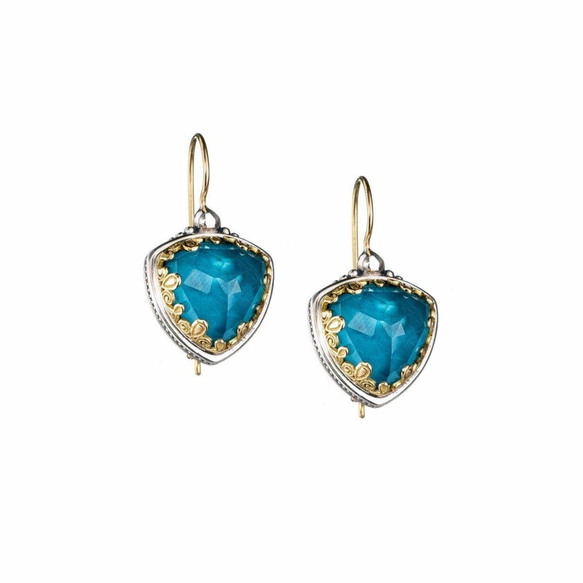 Κρεμαστά σκουλαρίκια Gerochristos στολισμένα με ντουμπλέτα πέτρα Απατίτη και διάφανο Χαλαζία