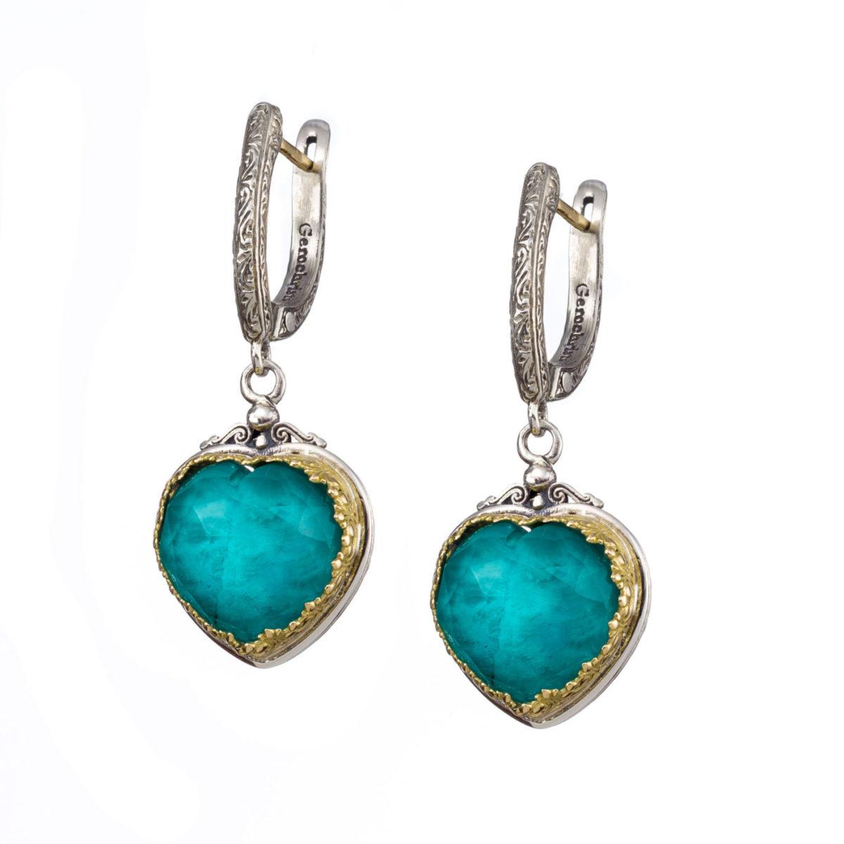 Κρεμαστά σκουλαρίκια Gerochristos στολισμένα με ντουμπλέτα πέτρα Αμαζονίτη και διάφανο Χαλαζία