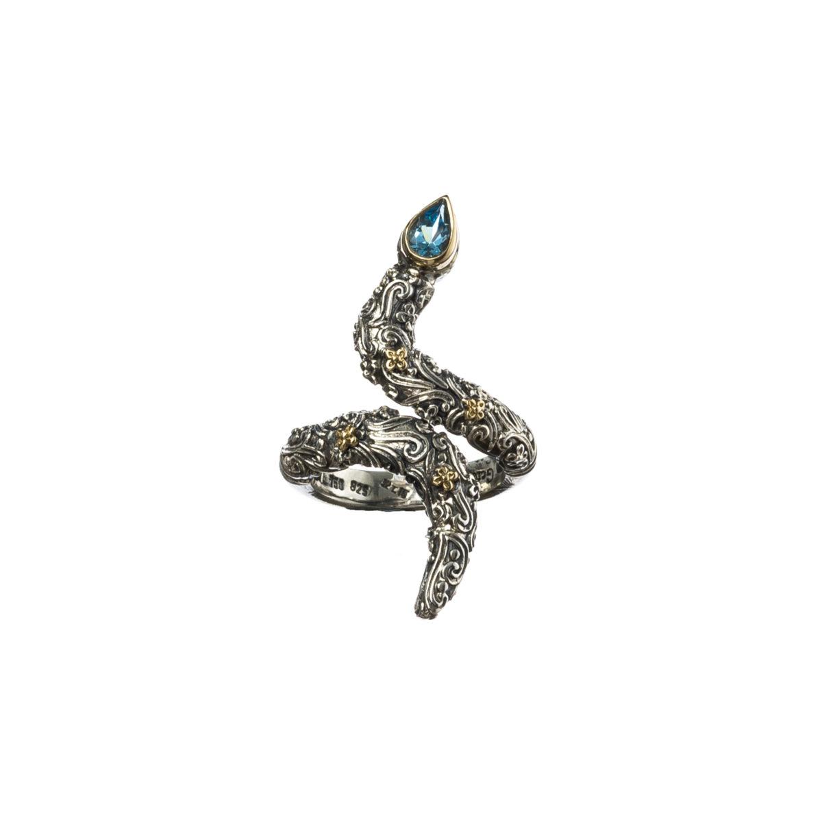 Εντυπωσιακό δαχτυλίδι Gerochristos σε σχήμα φιδιού στολισμένο με ένα πανέμορφο μπλέ τοπάζι