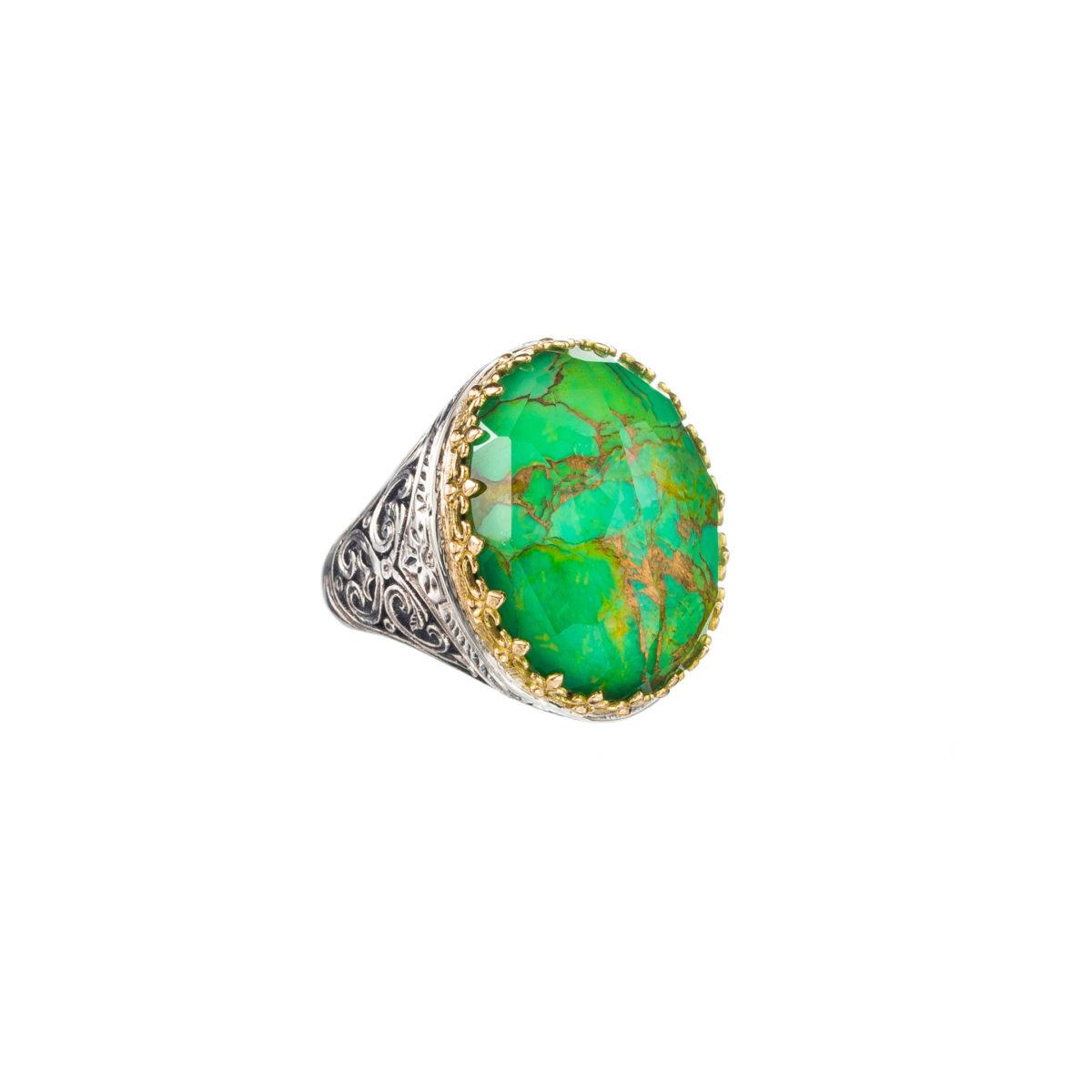 Εντυπωσιακό δαχτυλίδι Gerochristos διακοσμημένο με μια ντουμπλέτα πέτρα οβάλ κοπής πράσινη τιρκουάζ και καθαρό κρύσταλλο χαλαζία