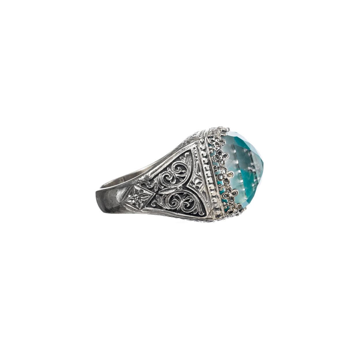 Εντυπωσιακό δαχτυλίδι Gerochristos στολισμένο με ντουμπλέτα πέτρα Αμαζονίτη και καθαρό Χαλαζία
