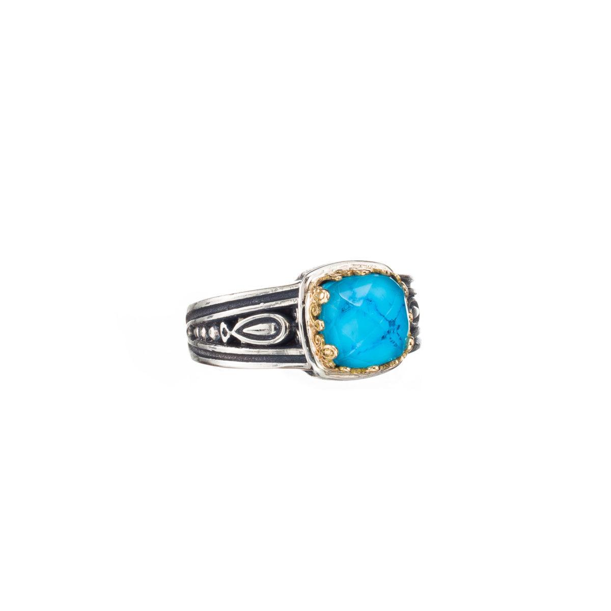 Χειροποίητο δαχτυλίδι Gerochristos στολισμένο με μια ντουμπλέτα πέτρα σε τετράγωνη κοπή τίρκουαζ και χαλαζία