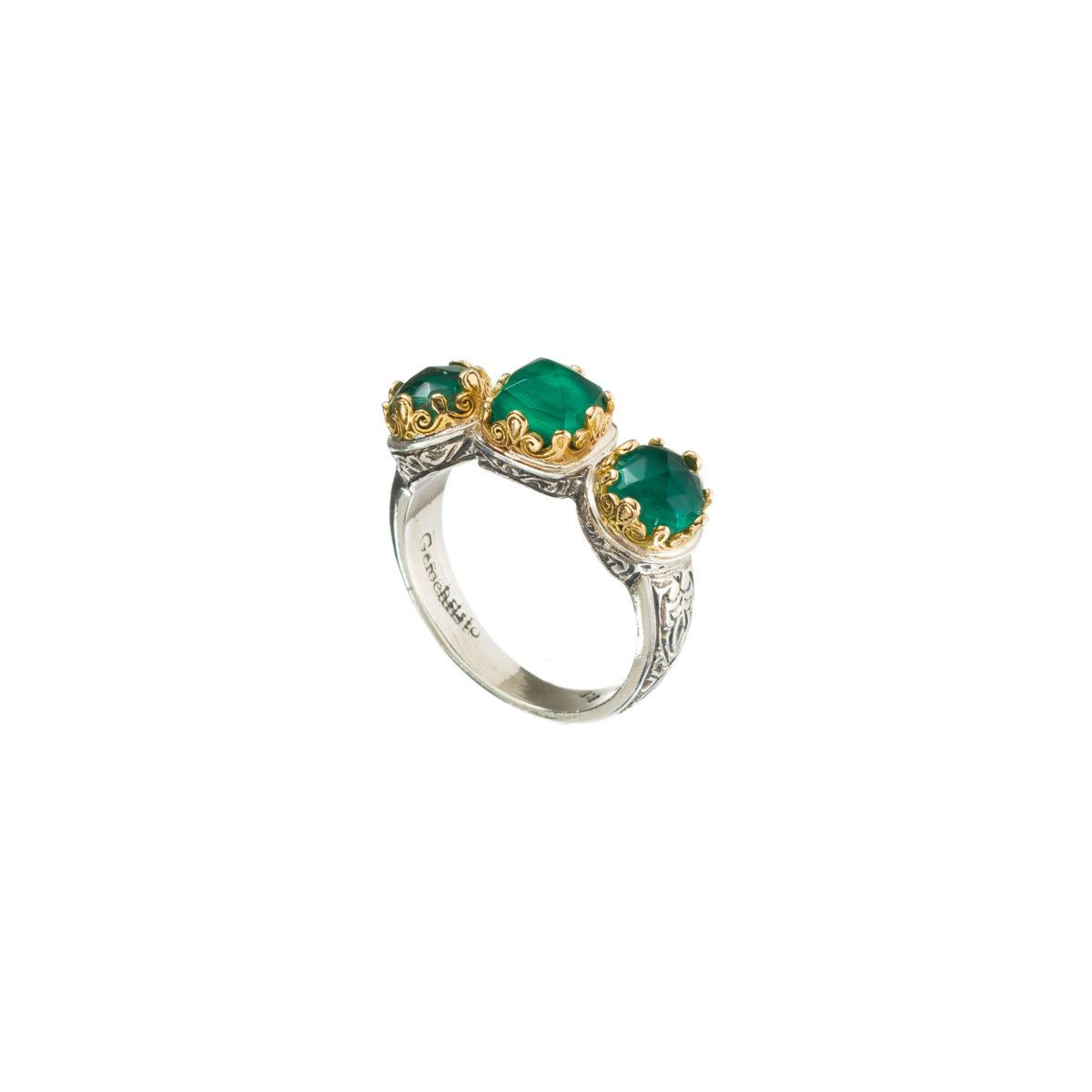 Χειροποίητο τρίπετρο δαχτυλίδι Gerochristos διακοσμημένο με ντουμπλέτες πέτρες μαλαχίτη και χαλαζία