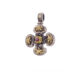 Χειροποίητος Βυζαντινός σταυρός Gerochristos με ρουμπίνι στρόγγυλης κοπής