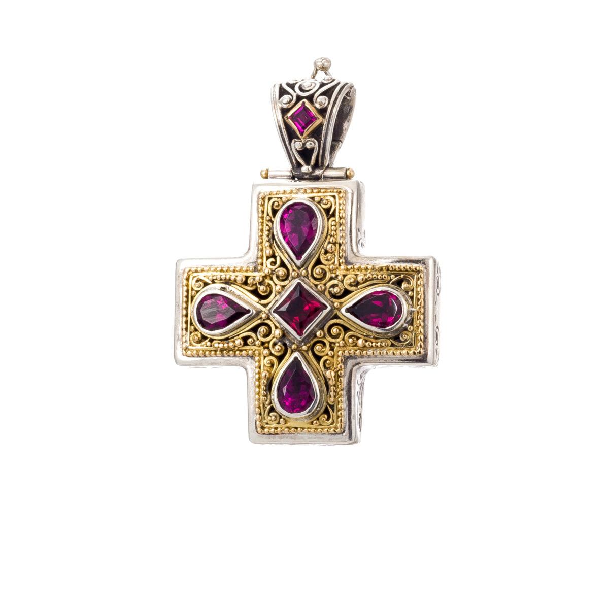 Χειροποίητος Βυζαντινός σταυρός Gerochristos με Γρανάδα Ροδολίτη