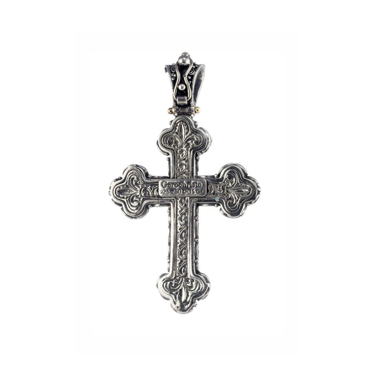 Χειροποίητος Βυζαντινός σταυρός Gerochristos με ένα στρόγγυλης κοπής ρουμπίνι στο κέντρο