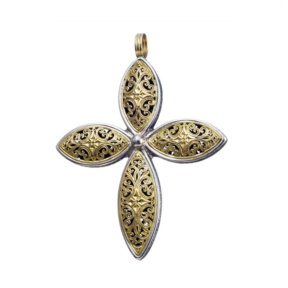 Χειροποίητος Βυζαντινός σταυρός Gerochristos διακοσμημένος με Βυζαντινά φιλιγκράν