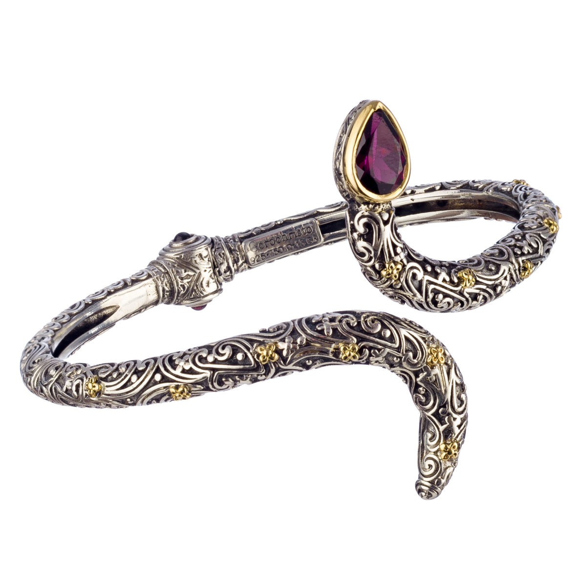 Χειροποίητο βραχιόλι Gerochristos σε σχήμα φιδιού διακοσμημένο με χρυσά άνθη και μια ορυκτή πέτρα Γρανάτη